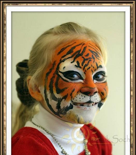 Аквагрим тигр на лице